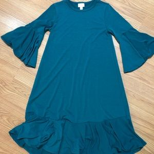 Lularoe Maurine Teal Solid Dress XXS
